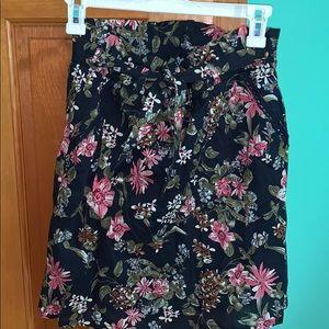 Navy floral patterned skirt